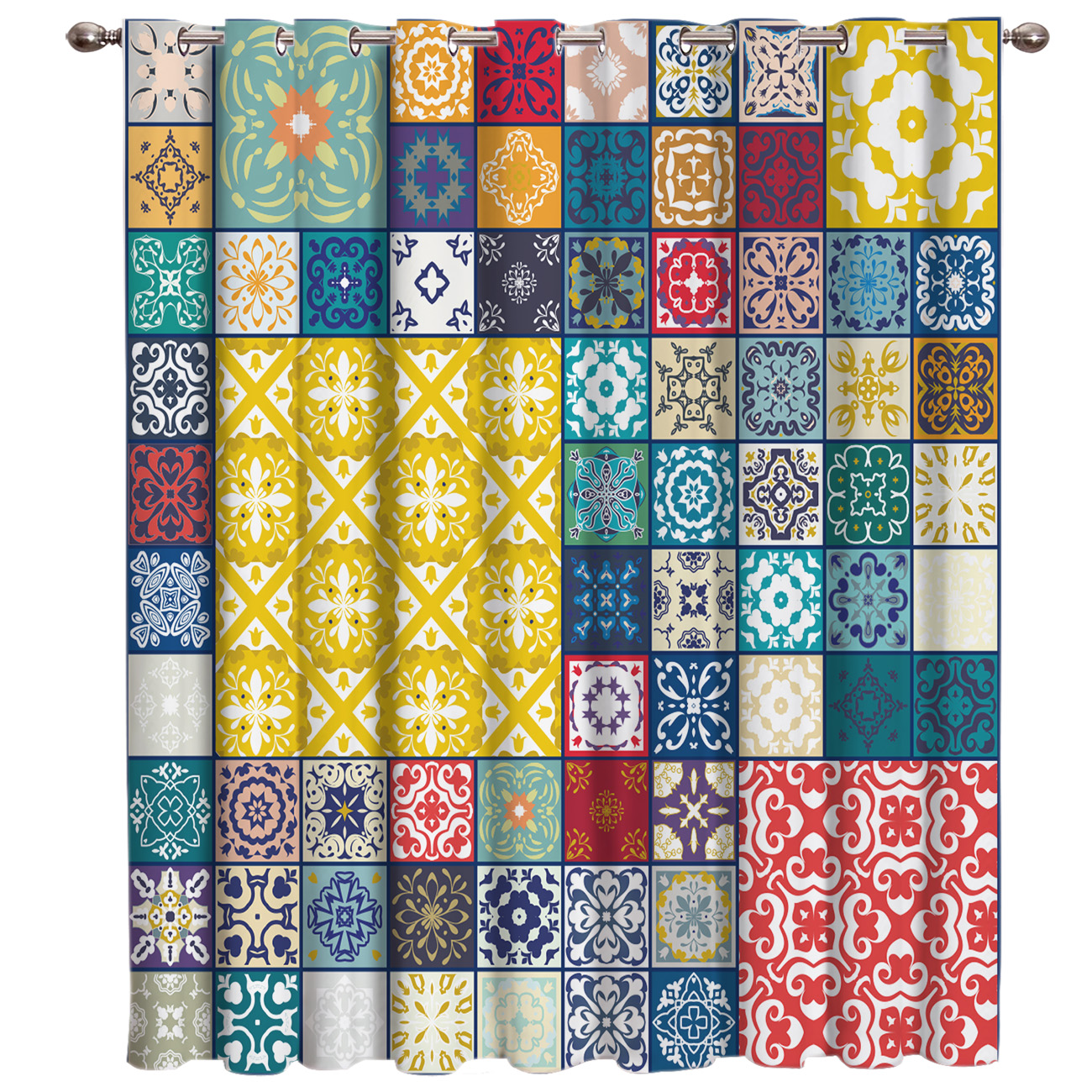 Retro Ethnic Square Pattern Window Curtains Dark Bathroom Bedroom Kitchen Indoor Curtain Panels With Grommets Valance Curtains