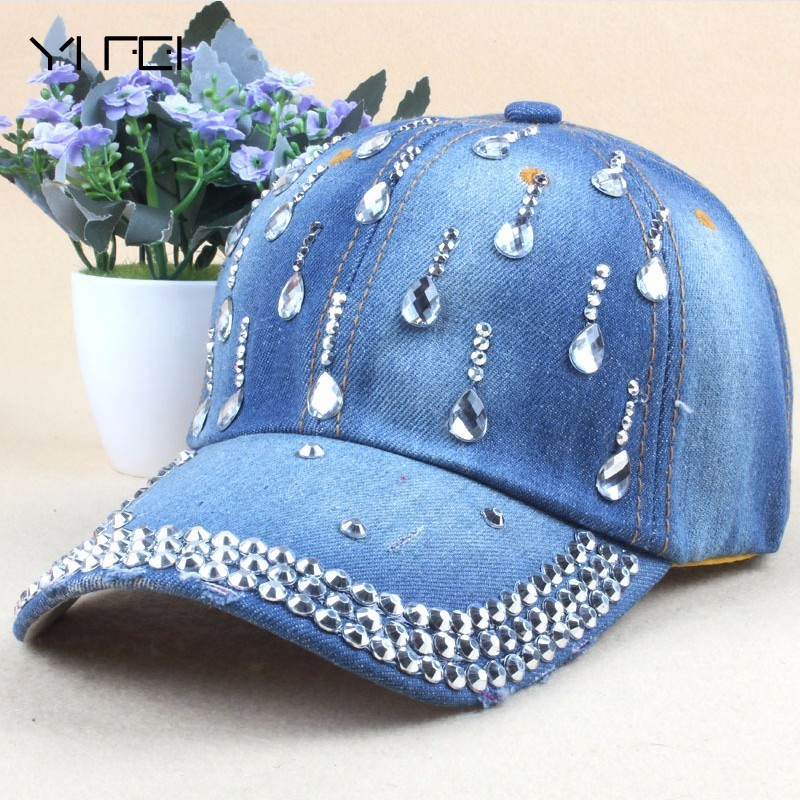 Brand New Denim Hats Fashion Leisure Woman Cap With Water Drop Rhinestones Vintage Jean Cotton Baseball Caps For Men Hot Sale 50 52 big size fashion casual male denim pants biker jean hot sale trousers cotton classic straight jeans for man