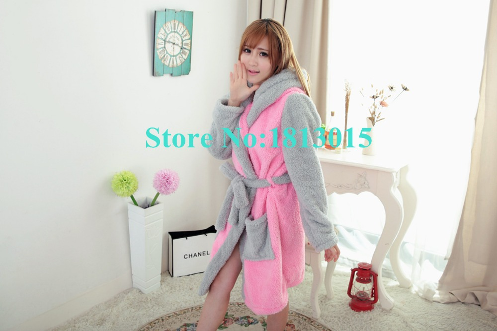 26a673c0d3 New plush robe 2015 Adult Animal Pink Rabbit Pajamas long sleeve lovely  Sleepwear bath robes dressing gowns for women bathrobe-in Robes from  Underwear ...