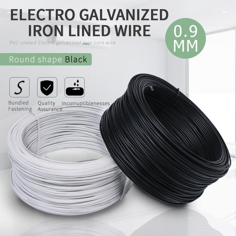 50Meters/lot 0.9MM Dia. Black Circular PVC Coated Electro Galvanized ...