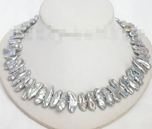 New AA Baroque Tooth Gray Pearl Bevel Necklace 18 ^^^ @ ^ Noble Style Natural Fine Jewe Free Shipping