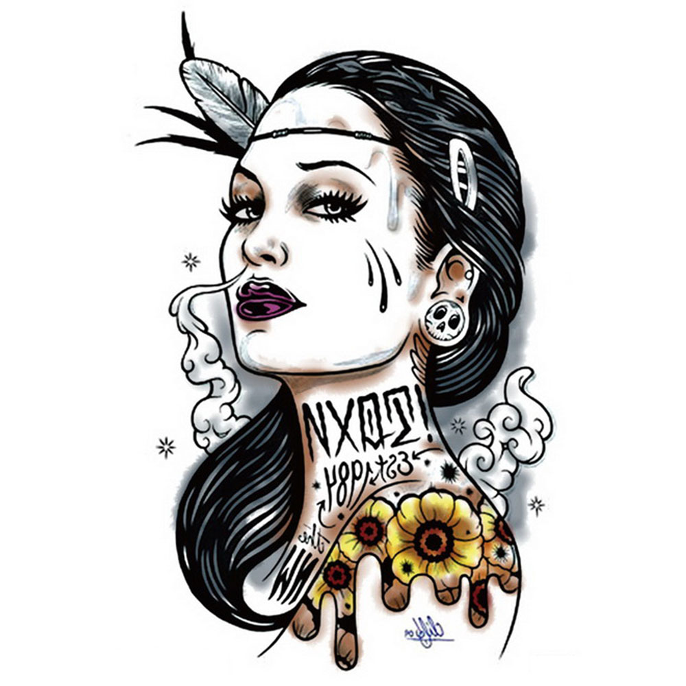 Yeeech Temporary Tattoos Sticker for Women Large Fake Lady Figure Tribal Designs Sexy Arm Leg Body Art Waterproof Long Lasting