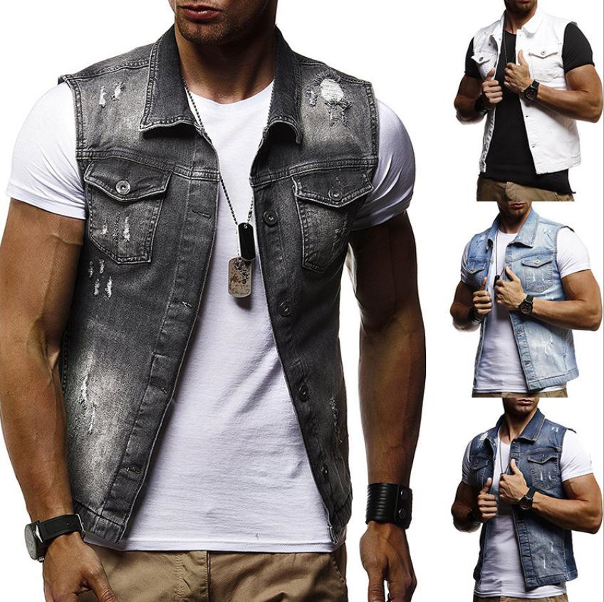 Mens Slim Fit Autumn Spring Denim Vests Ripped Turn Down Collar Denim Waistcoats Slim Fit Sleeveless Jeans Jackets J3006