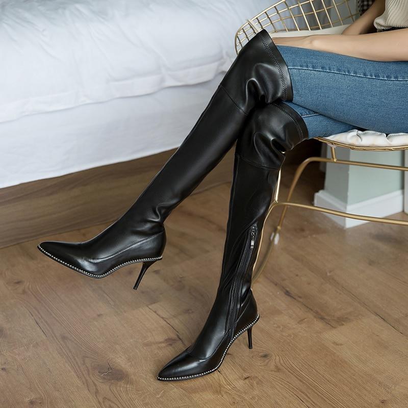 Talons Cuir Hiver Hauts Chaussures Véritable De Taille Black En Mince Genou 42 À La Le Sexy Sur Partie Longues Noir 33 Femmes Plus Bottes Dames 7gvfYbI6y