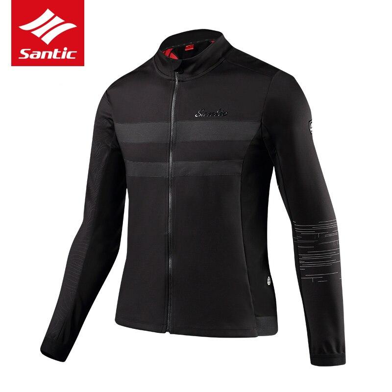 Santic Men Cycling Jacket Autumn Winter Windproof Mountain Road Bike Bicycle Jacket Thermal Fleece Long Sleeve