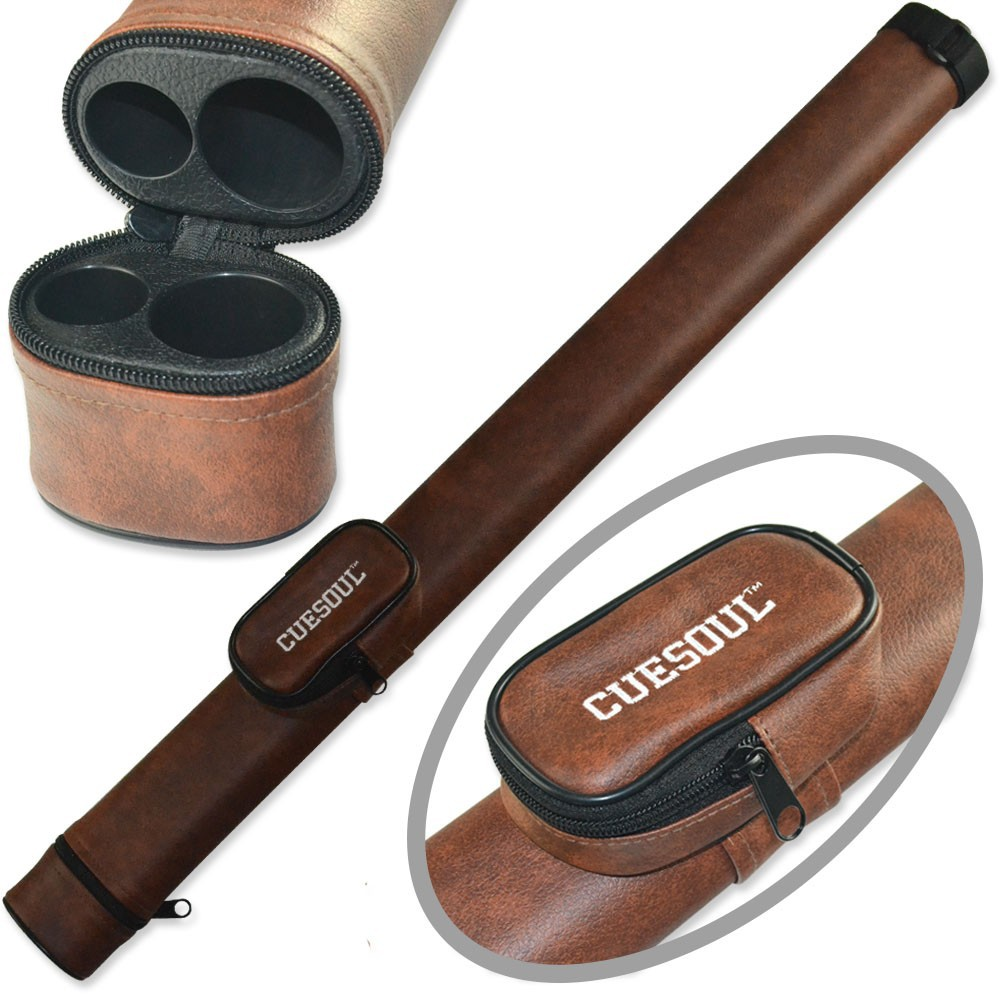 CUESOUL Two Tone Pool Cue Tube Case 1 Butt 1 Shaft Billiard Cue Canister For 1/2 Jointed Pool Cue Stick Case Brown Color