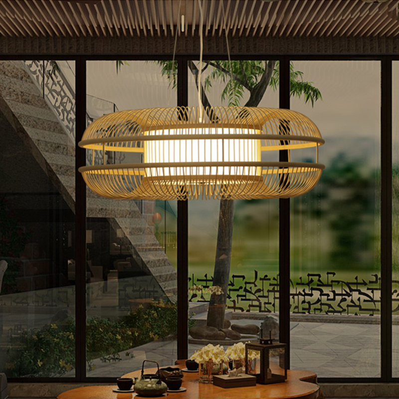 Chinese retro pendant light lamp led lighting fixtures wood bamboo for dining room hotel home led hanging lamp e27 AC110v 220v wholesale factory price retro copper lighting led ceiling light for home bedroom study dining room lamp