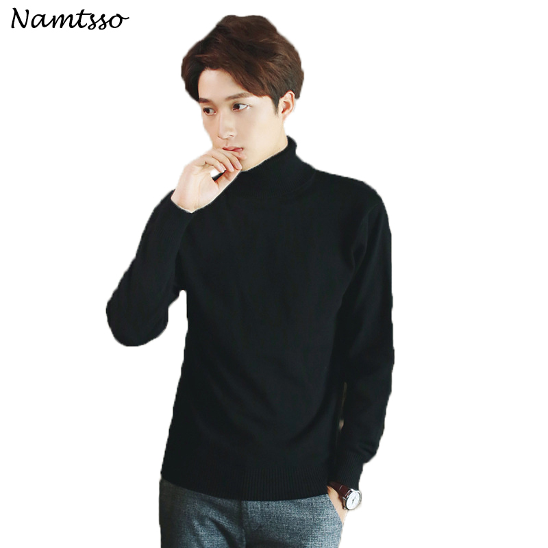 100% Cotton Sweater Men's 2018 Winter Turtleneck Long Sleeve Sweater Thicken Solid Color Sweater Cotton Slim Bottoming Shirt 208