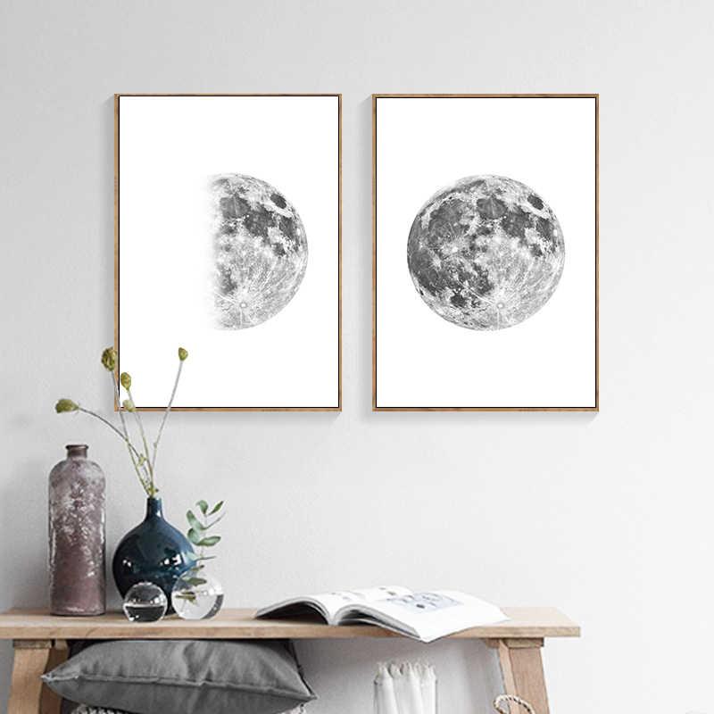 لوحات قماشية لمرحلة لونا مون بطباعة بسيطة لوحة جدارية فنية تجريدية صور ديكور الشمال ديكور غرفة المعيشة الحديثة