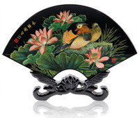 Upscale Chinese Style Antique Sector Lacquer Screen Ornaments Exquisite Ethnic Wooden Artwork Home Decoration Business Gifts