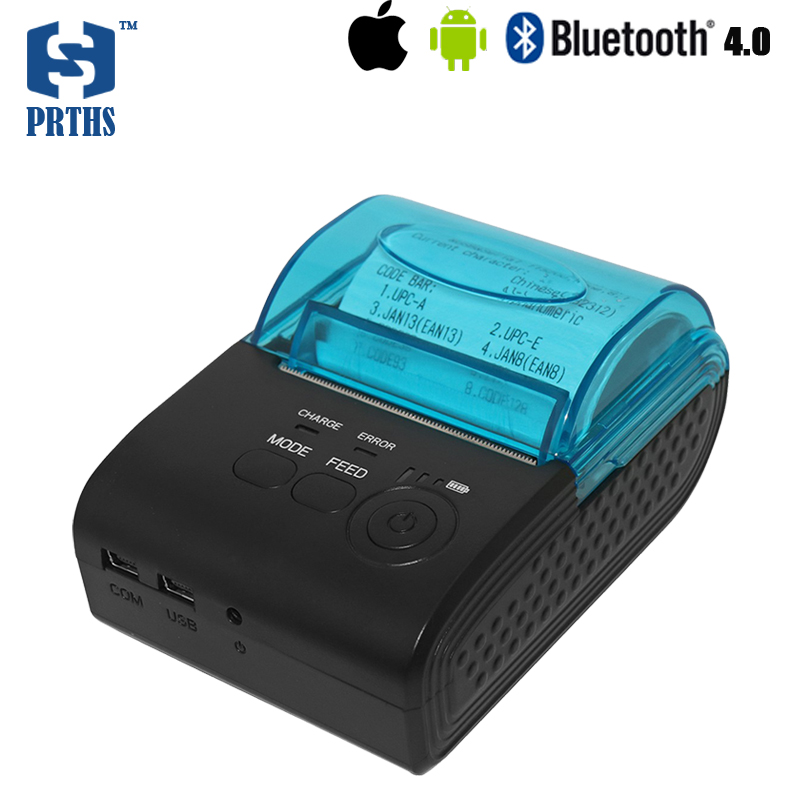 58mm portable printer bluetooth thermal printer support 50mm diameter paper roll for IOS POS ticket printing machine HS-590AI 2016 new cash register paper 57 50 thermal paper pos machine printing paper 58mm small ticket paper roll 24 volumes