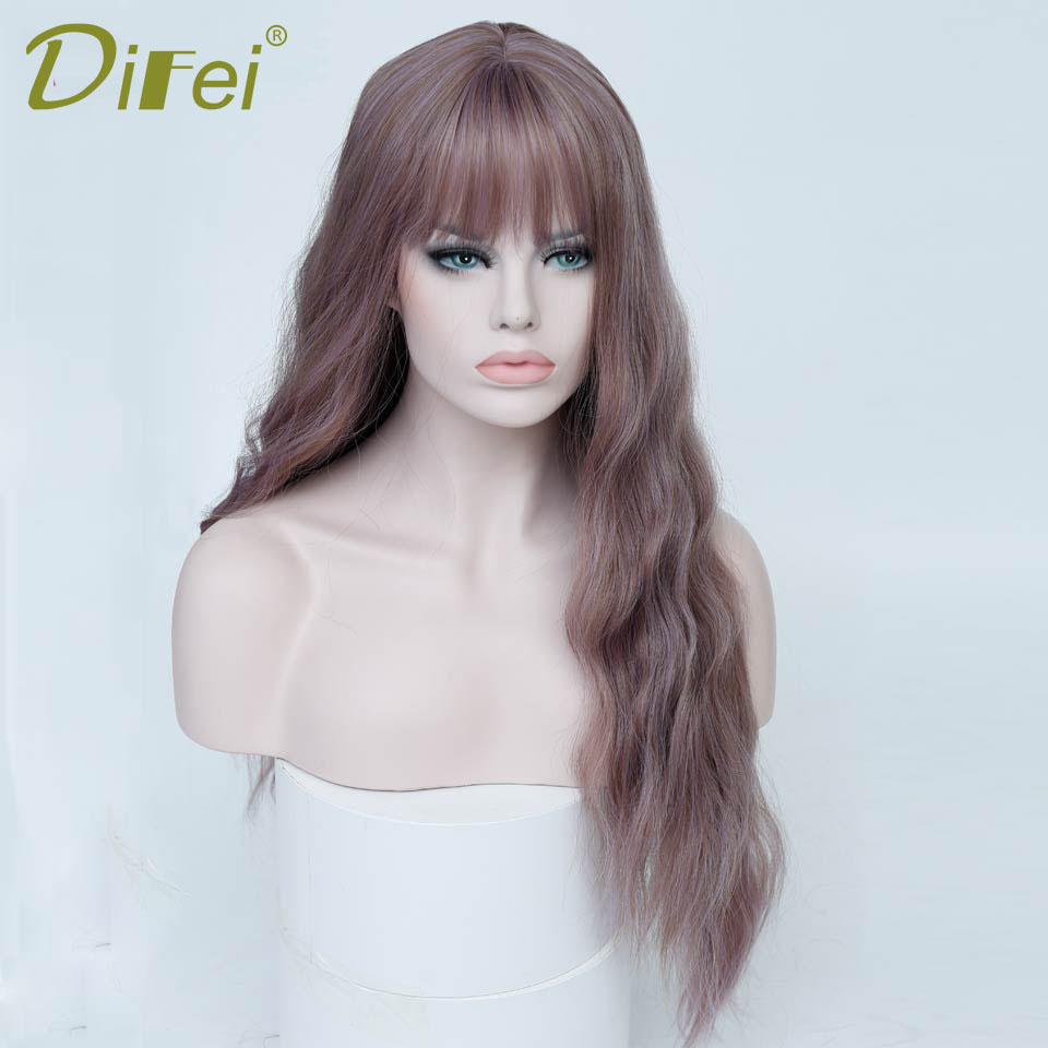 DIFEI Long Wavy Wig Costume Cosplay Wigs Female Synthetic Halloween Party Heat-Resistant Extension Clip Wig