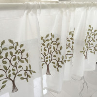 Half Curtain Hot Sale Fashion Coffee Curtain Tree Embroidery Lace Curtain For Bar Kitchen Cabinet Door