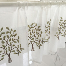 Half Curtain Hot Sale Fashion Coffee Tree Embroidery Lace for Bar Kitchen Cabinet Door Childrens Room E-012