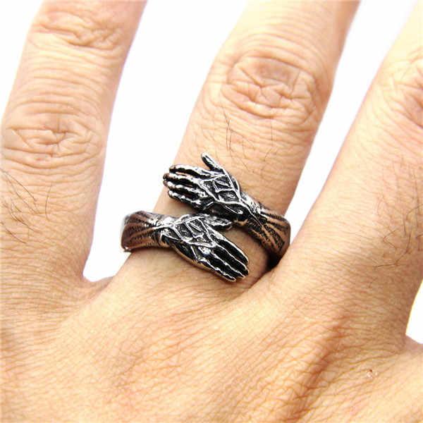 Cross แหวน 316L สแตนเลสผู้หญิง Mens 3 สีเงินทองสีดำพระเจ้ามือแหวน