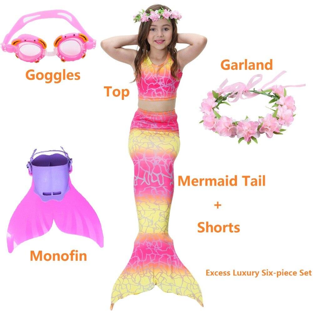 2019 New Foreign Girls Swimming Suit Mermaid Tail Costume Kids Mermaid Tail Swimmable Bikini  Baby Dress swim Cosplay