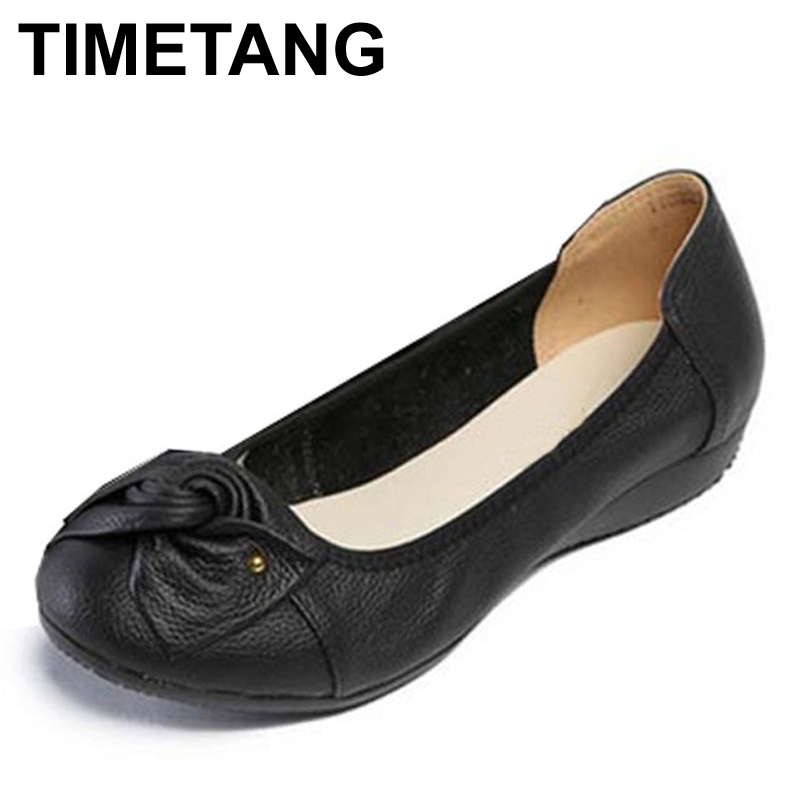 Big Size 34 43 Genuine Leather Women Ballet Flats Cowskin Bowtie Shoes Woman Fashion Women Ballerina