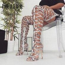 Sexy Snake Pattern Hollow Women Boots Stiletto Peep Toe High Heels Women Shoes Nightclub Sleeve Belt Buckle Over The Knee Boots цена 2017