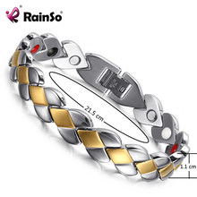 RainSo Popular Stainless Steel Health Magnetic Bracelets for Lady Magnetic Therapy Bracelets for Arthritis Wristband Adjustable(China)