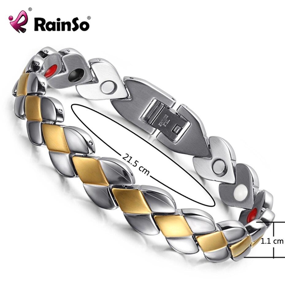 RainSo Popular magnética de la salud de acero inoxidable pulseras para dama terapia magnética pulseras para la artritis pulsera ajustable