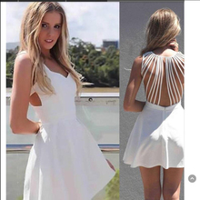 white bandage Lace Up Backless Spaghetti Strap Short Skater Dress Women Hollow Out Ball Gown Sleeveless Mini Dress.