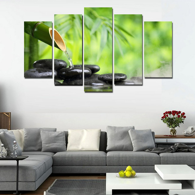 5 Piece Zen Stone Bamboo Buddhism Art Canvas Print Picture For Home