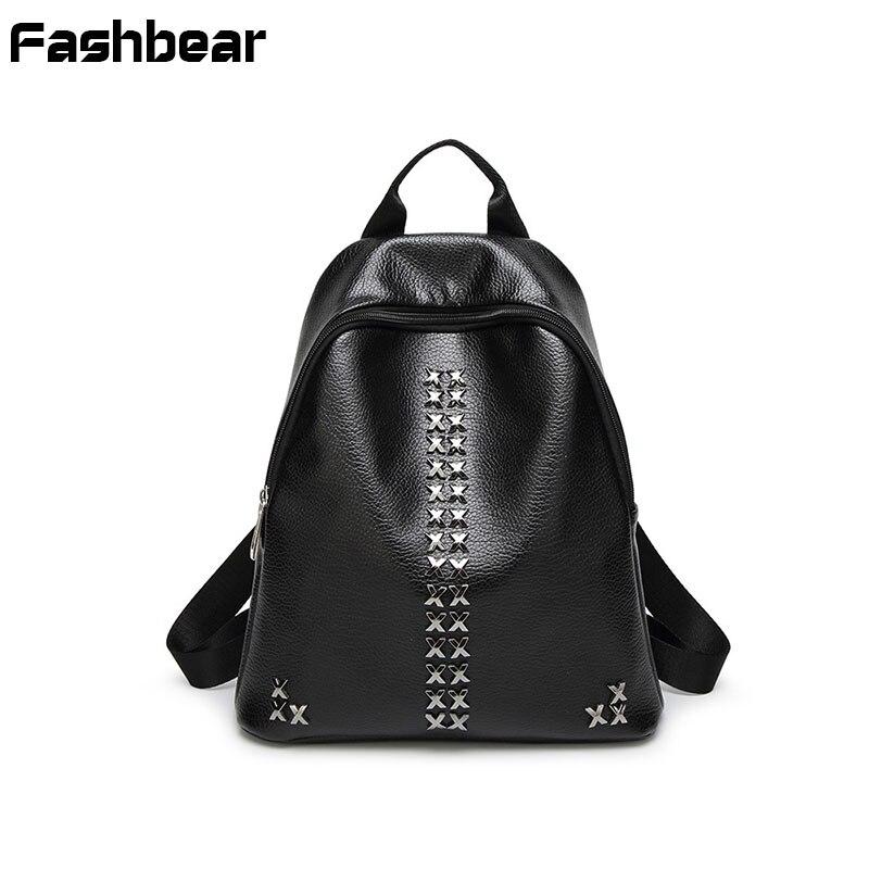Women Backpack Black Fashion PU School Bags Back Pack For Teenage Girls Rivet Korean Style Waterproof Female Travel bagpacks