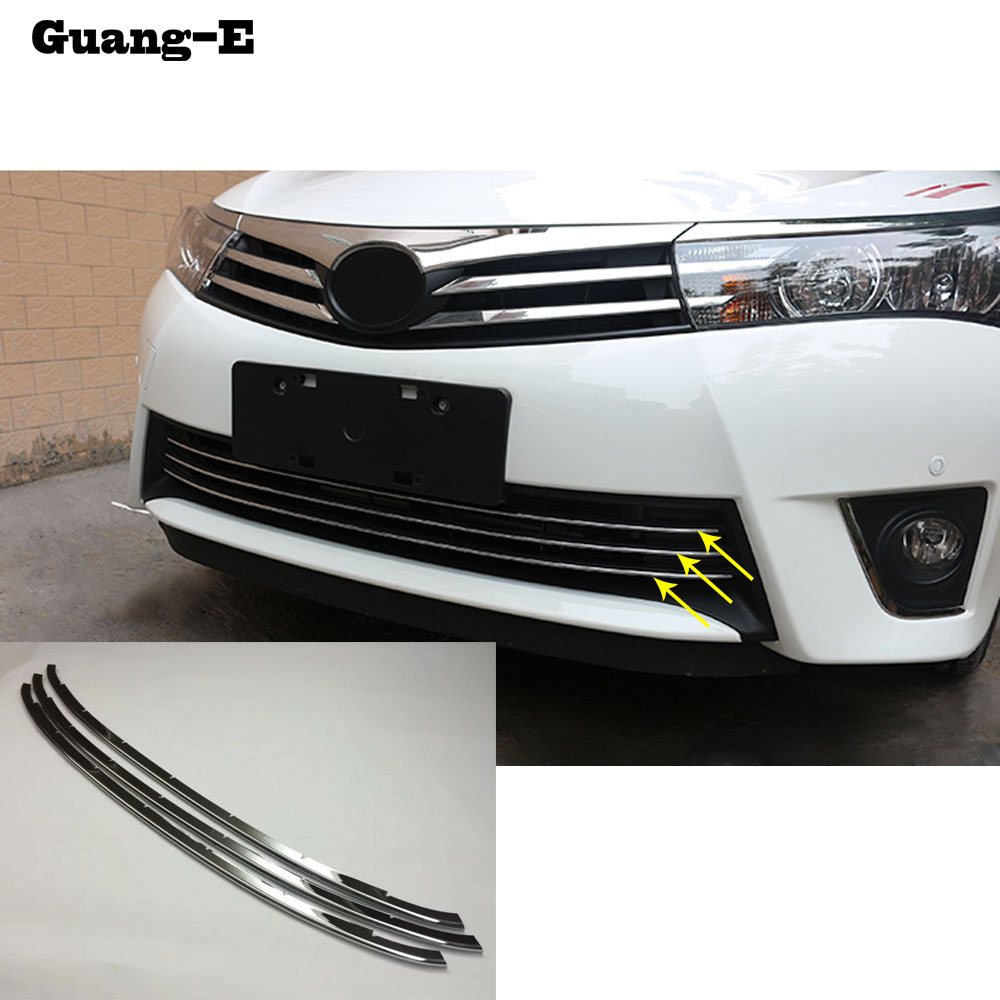 For Toyota Corolla Altis 2014 2015 2016 car body styling protection stainless steel trim Front up Grid Grill Grille hoods 3pcs
