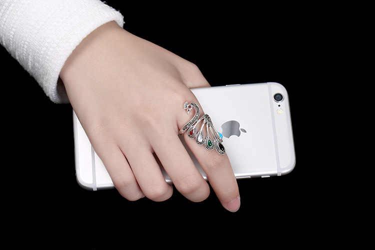 S925 เงินย้อนยุคสัตว์แหวนสำหรับผู้หญิงสีต่างๆย้อนยุคนกยูงแหวนเครื่องประดับ