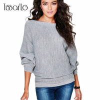 TissarLG Women Autumn Winter Fashion Sweaters Solid Long Sleeve Knitted Pullovers Batwing Sleeve Casual Cloth