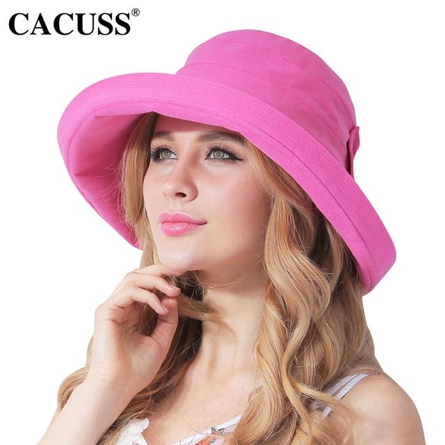 cheap hats Cacuss Summer Caps Sun Hats For Women Folding Bucket Bow Cap  Seaside Sun Visor 131b664bd7d