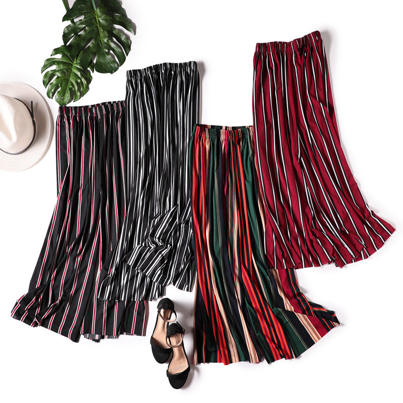 New Summer Loose Ice Silk Striped   Wide     Leg     Pants   Women Elastic Waist Thin Chiffon Trouser Vintage Plus Size Beach Leggings Mw482