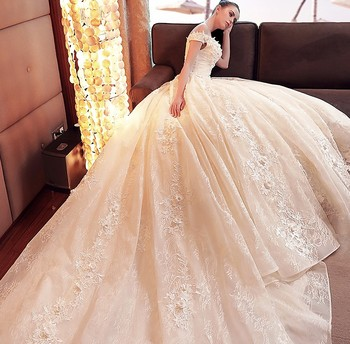 6fb998d36 Vestido de Longo элегантное шампанское кружевное платье для свадьбы robe de  mariage 2019 бусины аппликации бальное принцессы Свадебные платья
