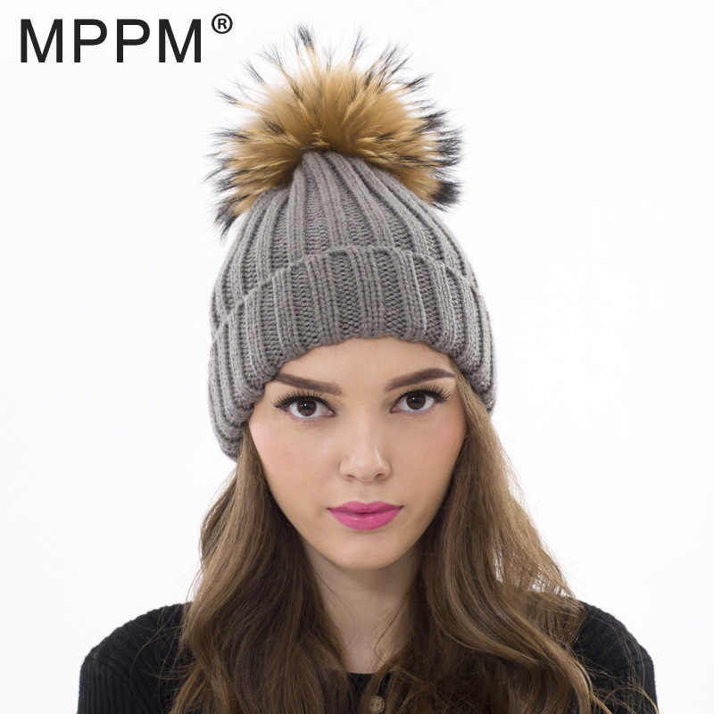 MPPM Real Fur Hat Knitted Real Big Raccoon Pom Pom Hat Women Winter Hat for women girl 's wool hat knitted cotton beanies cap