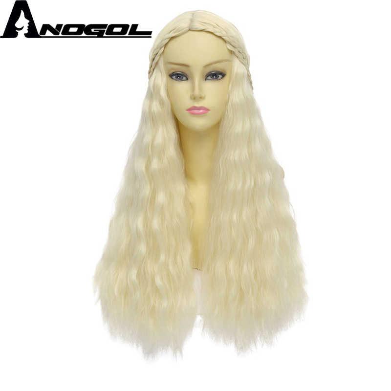Anogol Elsa Anna mała syrenka gra o tron długie naturalne fale blond brązowy pleciony złoty czerwony peruki syntetyczne dla Cosplay