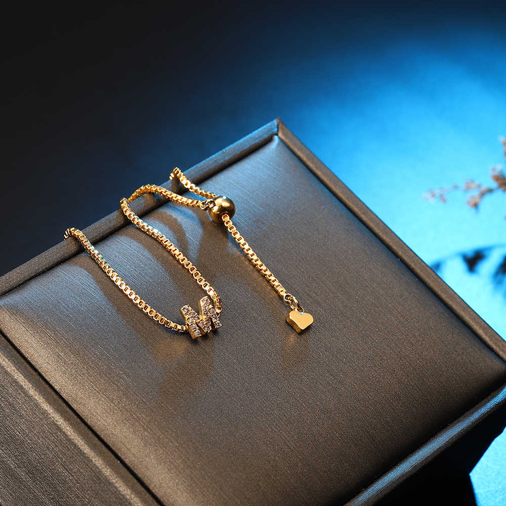 METOO Charm Gold Custom Rhinestone Letter Bracelets Women 26 English Letters Women Bracelets Baby Jewelry for Children Girl 2019