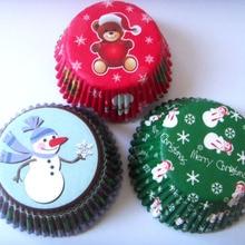 100 шт Синий с Рождеством/розовый/красный снежинка/синий/зеленый Снеговик кекс Лайнер Маффин форма для выпечки кекса чехол