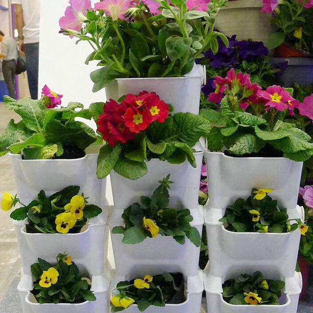 Pots de fleurs planteur pour balcon fleur combinaison pot de fleurs en trois dimensions mur plantes