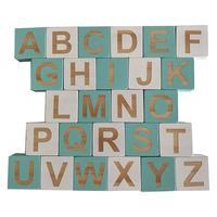 1 סט מוצק עץ 26 אנגלית אלפבית כיכר קוביית בלוק ילדי למידה קישוטי תינוק תינוקות צילום אבזרי בית מלאכות