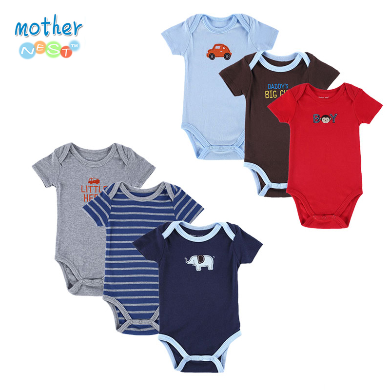 6 stykker / Lot Mor Nest Nyfødt Baby Body Sommer Baby Boy Layette Body New Born Baby Tøj Babyer