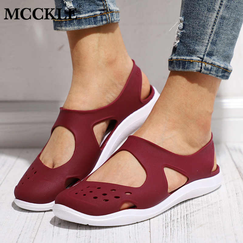 MCCKLE Summer Women Sandals Soft Flat Slip On Female Casual Jelly Shoes Girl Sandals Hollow Out Mesh Flats Beach Footwear New