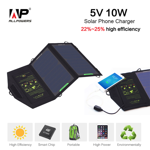 ALLPOWERS 5 Carregador De Energia Solar tensão 10 Watts Painel Solar Portátil bateria para iphone 6 s 6 plus ipad mini galaxy s6 e mais