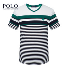 Royal Queen's Team Men's short sleeve t-shirt 2017 high-end new short-sleeved cotton casual stripes V-neck light luxury men