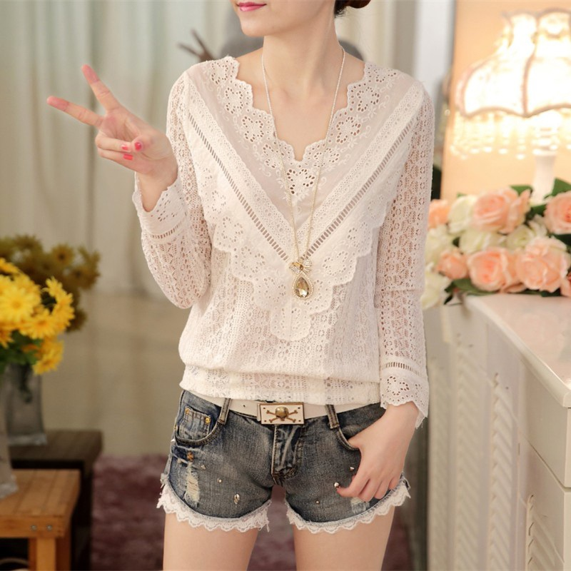 Womens T-shirt Top Spring and Autumn Korean Version V-collarBody Thin Lace Shirt 2017 Fashion Plus Size Ladise Tops