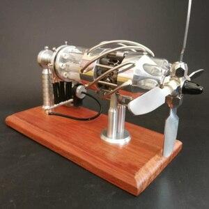 Image 3 - Super Quality 1 Pcs 16 Cylinder Swash Plate Butane Powered Quartz Glass Hot Cylinder Stirling Engine Model
