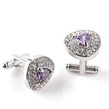 1 Pair High grade Silver Plated Purple Crystal Rhinestone Cufflinks Wedding shirt Cuff Links Classic Luxury Jewelry 3 Color