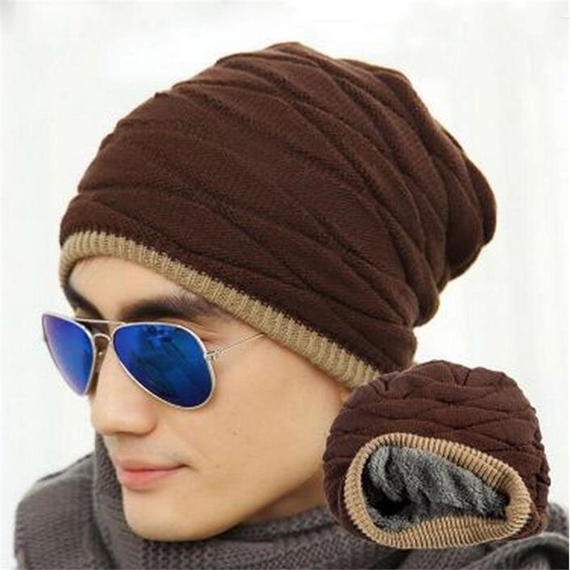 2016 Winter Unisex Skullies Fashion Beanies Knit Beanies Hat Hot Man Women Black Solid Color Elastic Hip-Hop Cap Gorro Warm M053 unisex women men knit skullies beanies solid winter warm oversize ski cap hat