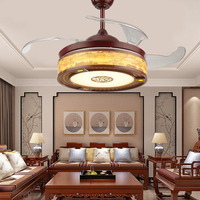 42 Inch LED Classical Chandelier Fan Lamp Living Room Modern Ceiling Short Short Base Fan with Remote Control