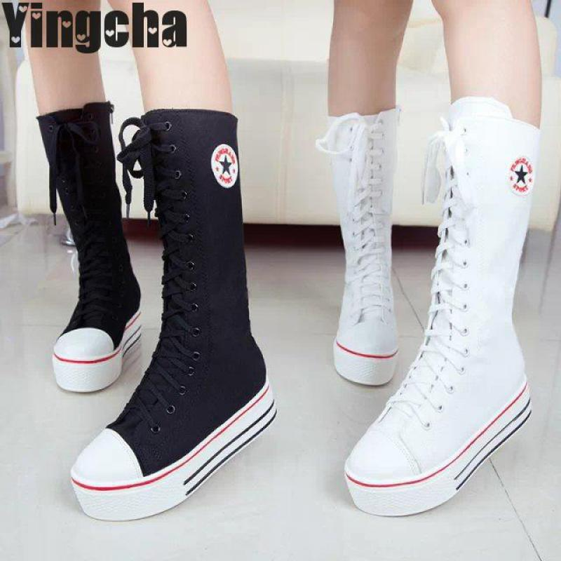 Women Boots 2018 Autumn Winter Ladies Fashion Flat Bottom Boots Shoes Over The Knee Thigh High Knitting Canvas Long Brand Boots 2017 sexy thick bottom women s over the knee snow boots leather fashion ladies winter flats shoes woman thigh high long boots