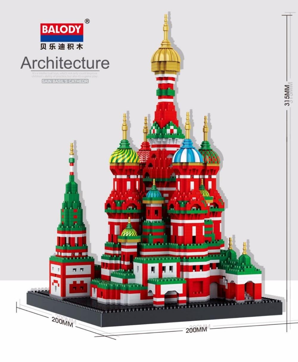 Balody Mini Blocks Building World Architecture Saint Basil's Cathedral brinquedos Plastic Bricks Kids toys for kids Gifts 16066 часы mini world mn1012a